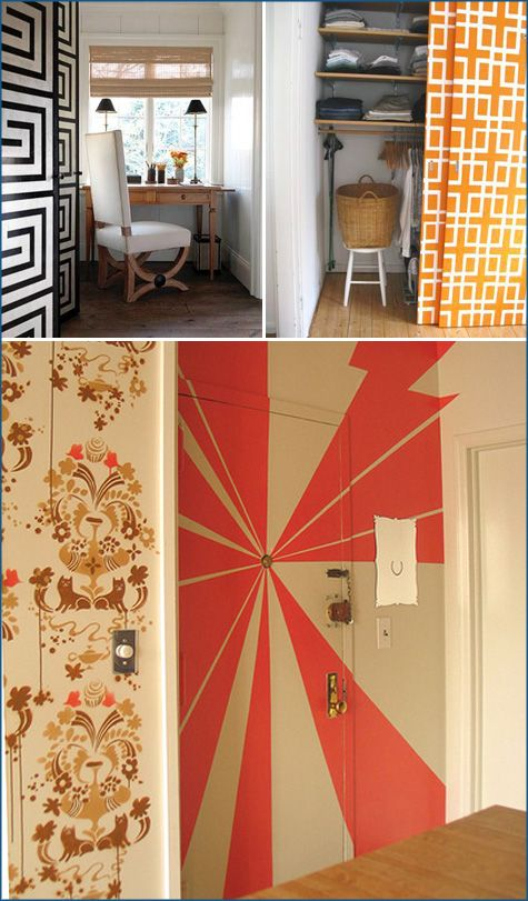 Painted Door Ideas Geometric Wardrobe Doors Closet