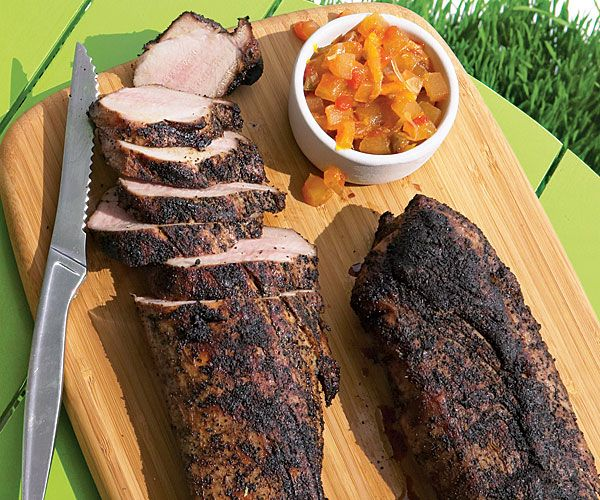 Coffee rubbed pork tenderloin watermelon rind relish recipe: Think twice before you toss out your watermelon rinds; their neutral flavor readily absorbs the sweet-spicy seasonings in this relish. Ground coffee beans infuse the pork with rich, earthy notes.