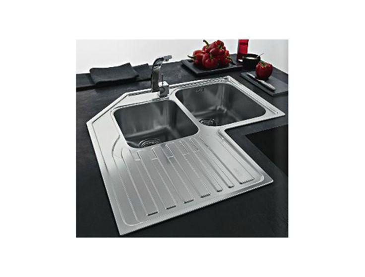 lavello cucina d'angolo in #acciaio inox satinato #Franke #STX-621 #lavello #cucina www.therapy4home.com