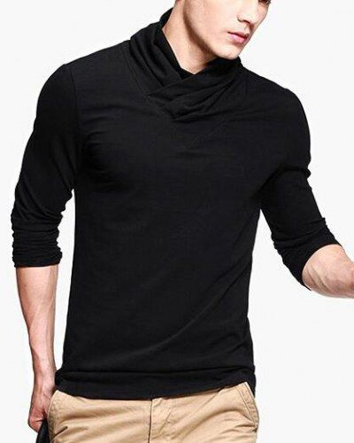 Plain black tshirt long sleeve cowl neck tshirts for men