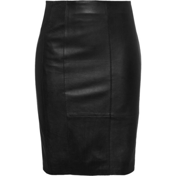 STAND Sally Pencil Black // Leather pencil skirt found on Polyvore featuring skirts, bottoms, black leather skirt, leather pencil skirt, knee length pencil skirt, black pencil skirt and high rise pencil skirt