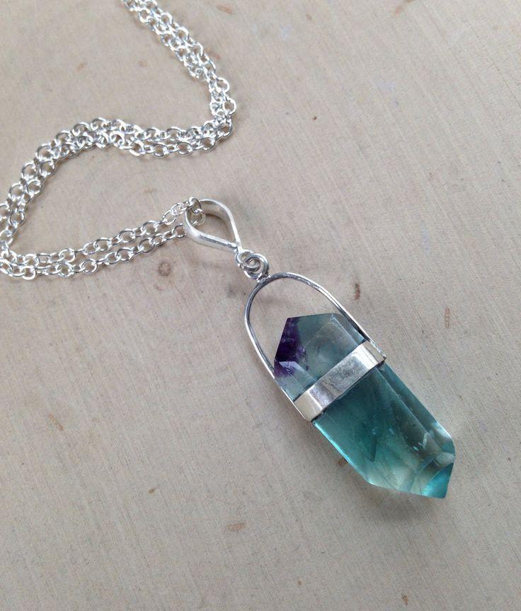 Aqua Blue Fluorite Necklace: Point Pendant / Rainbow Fluorite Point Necklace / Fluorite Necklace / Blue Fluorite, Terminated Point, Fluorite by MalieCreations on Etsy