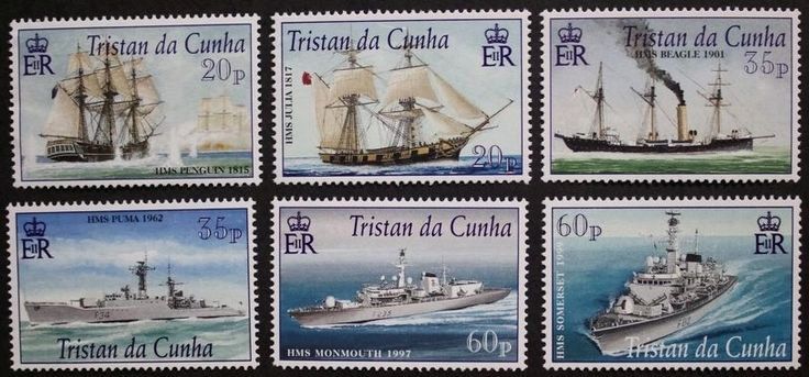 Royal Navy connections with Tristan da Cunha stamps, 2001, SG ref: 725-730, MNH
