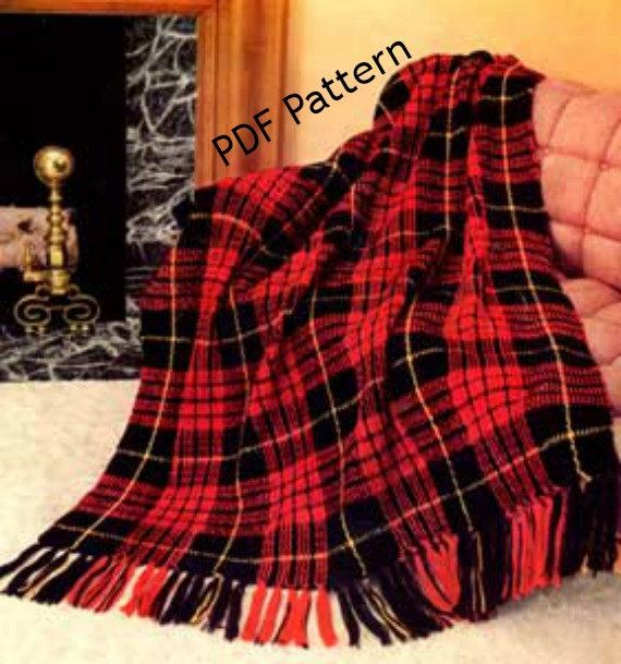 Tartan Plaid Afghan Crocheted Pattern in PDF Instant Download by BubbleGumInTheMail, $2.50