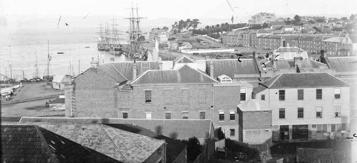 Early Salamanca and Hobart Wharf in Tasmania. Tasmania Archives and Heritage Office.
