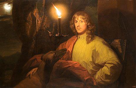 Godefridus Schalcken arbeitete an den großen Königshäusern und Fürstenhöfen, verkörperte das, was man heute einen hochdekorierten Kunststar nennen würde: Porträt des James Stuart, Duke von Lennox und Richmond, mit seinem Windhund bei Kerzenlicht, undatiert, Öl auf Leinwand