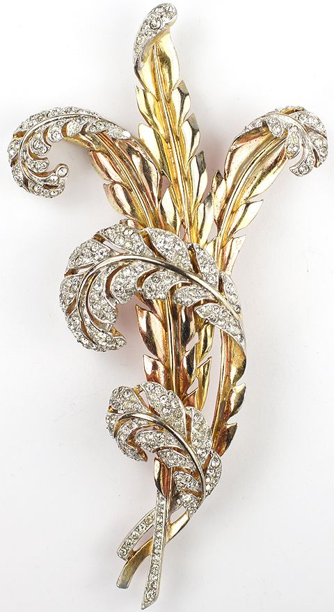 Trifari 'Alfred Philippe' pave Yellow and Rose Gold Multiple Feather Leaves Pin
