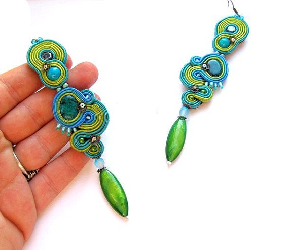 Long Dangle Green Earrings Dangle Long Earrings by StudioGianna