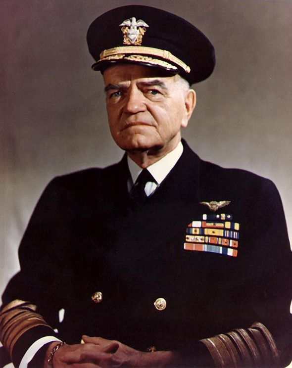 Fleet Admiral William Halsey Jr. (October 30, 1882 – August 16, 1959) was an American fleet admiral in the United States Navy. He was made commander, South Pacific Area and led the Allied forces over the course of the Battle for Guadalcanal (1942–43) and the fighting up the Solomon chain (1942–45). In 1943 he was made commander of the Third Fleet, the post he held through the rest of the war.  He was Grand Marshall in 1946.