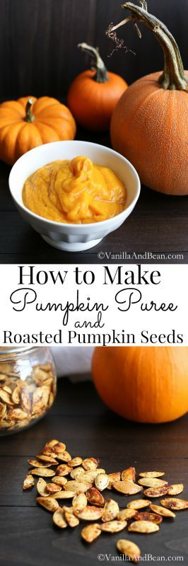 An tutorial on how to roast whole pumpkin, puree and freeze it and roast the most mouthwatering pumpkin seeds. | Vanilla And Bean