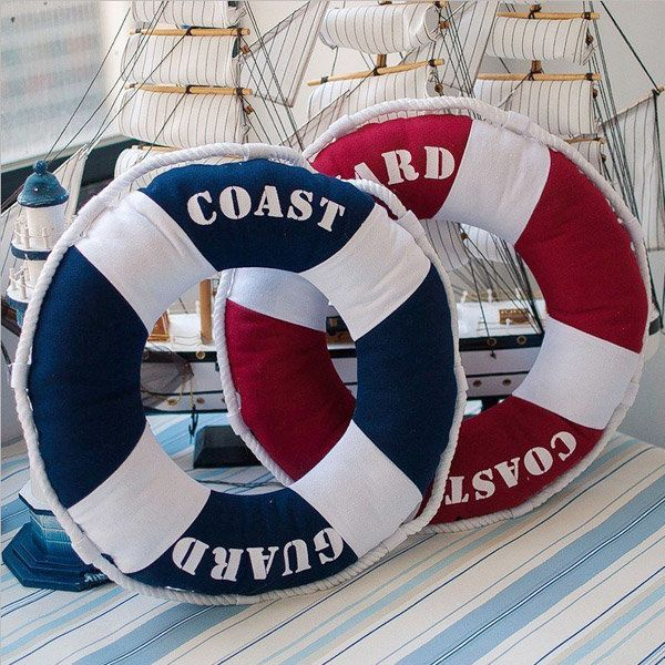 Mediterranean Style Fabric Lifebuoy Shape Back Cushion Home Office Soft Pillow