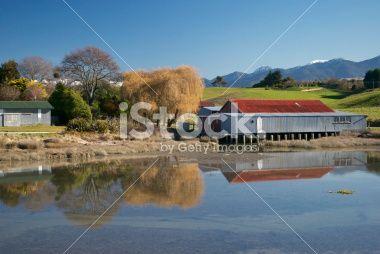 Old Apple Shed on Motueka Estuary, Tasman Region, NZ Royalty Free Stock Photo