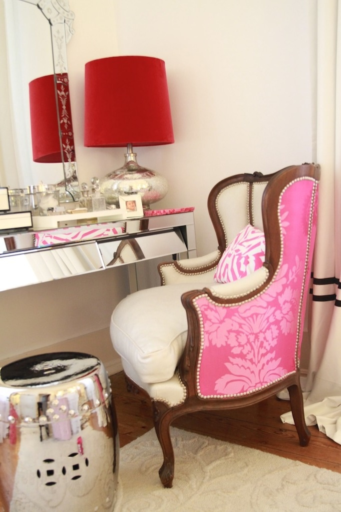 Black & White & Pink Bedroom - designer's guild fabrics, christian lacroix pillow