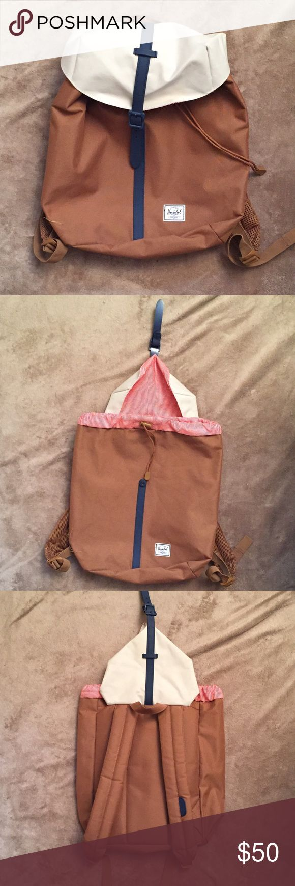 Herschel Backpack In good condition!                                                                              Has some flaws:                                                                             One small thread sticking out of one strap, white lid has a small discomfited spot, inside has markings from pens                                                                                                        Perfect for a weekend getaway! Make an offer! Herschel Supply Company…