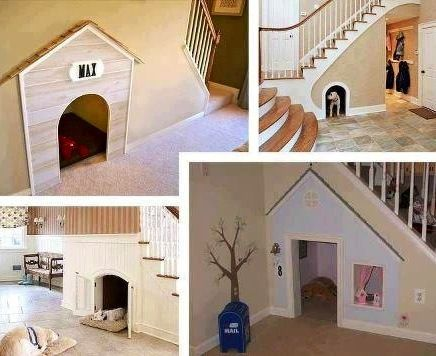 Cool dog space under stairs via So Many Things on Facebook