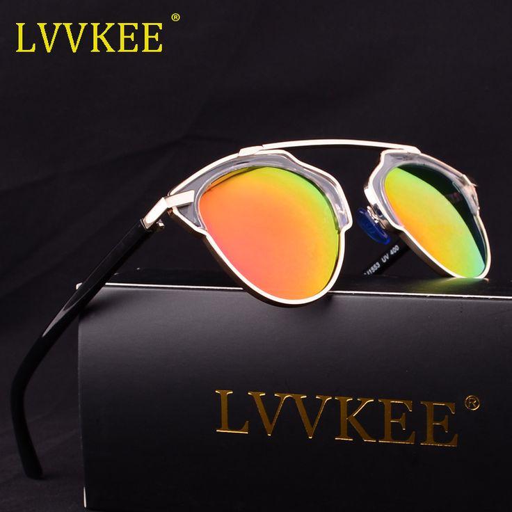 LVVKEE brand Cat Eye Mirror Celebrity Sunglasses Women Or Men Superstar Rihanna Polarized Sun Glasses Summer Female D Style