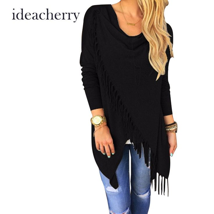 2016 Hot New Women Long Sleeve Blouse Tassel Slash Dress Blouses Fashion Sexy Tops Ladies Casual Shirts Chemise * Want to know more, click on the image.