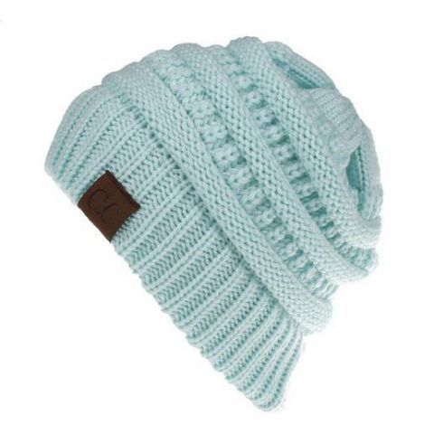 Ponytail knit hat beanie with hole on top for women messy bun toboggan  winter hats 444388aeb05