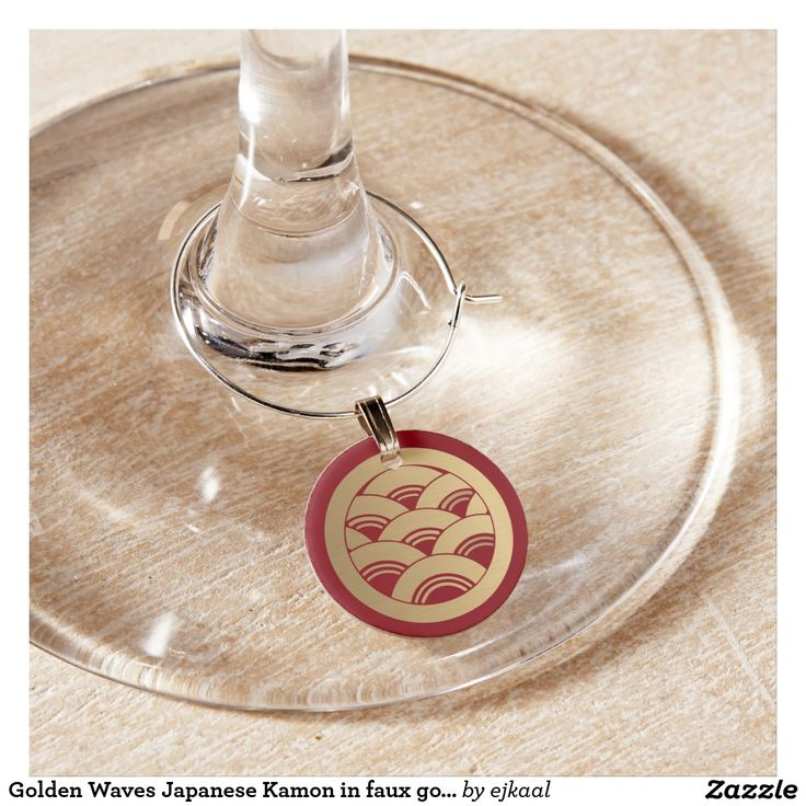 Golden Waves Japanese Kamon in faux gold Wine Glass Charm