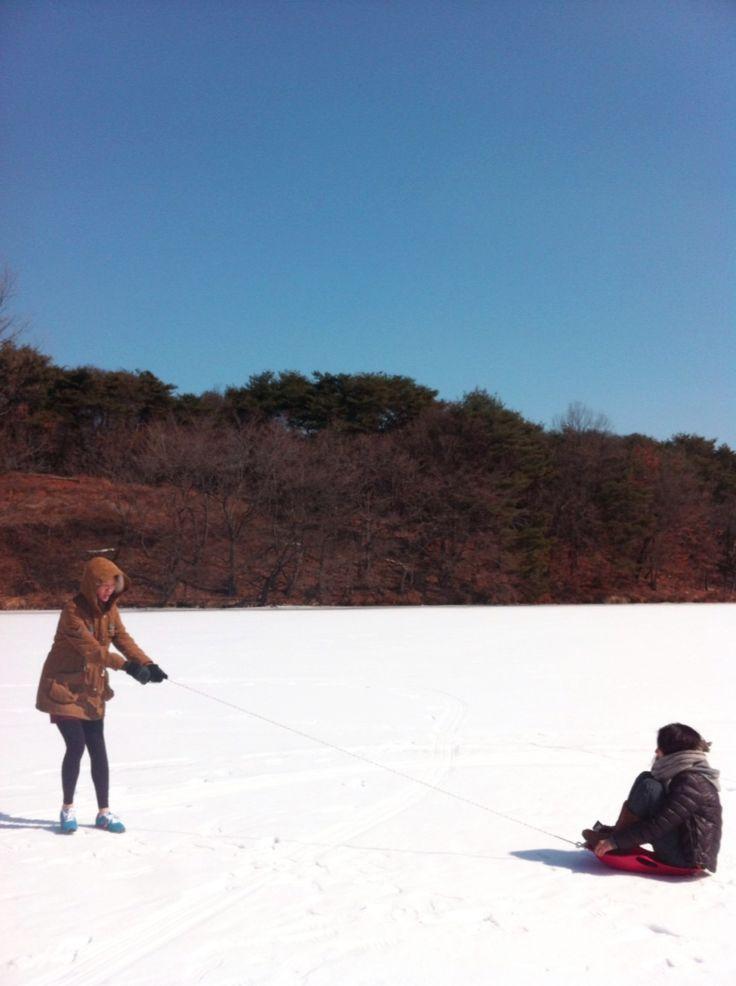 snow sled in Chuncheon, Korea