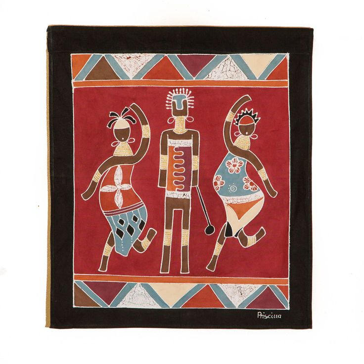 Wall Hangings ~ Ladies and Warriors Designs $35.00 USD  Small Square Multi-purpose wall hanging depicting athletic warriors and graceful ladies in striking terracotta and red colourway. Hemmed all around with full-width pocket along top edge for hanging pole. Can also be used as a Tablecloth or throw.