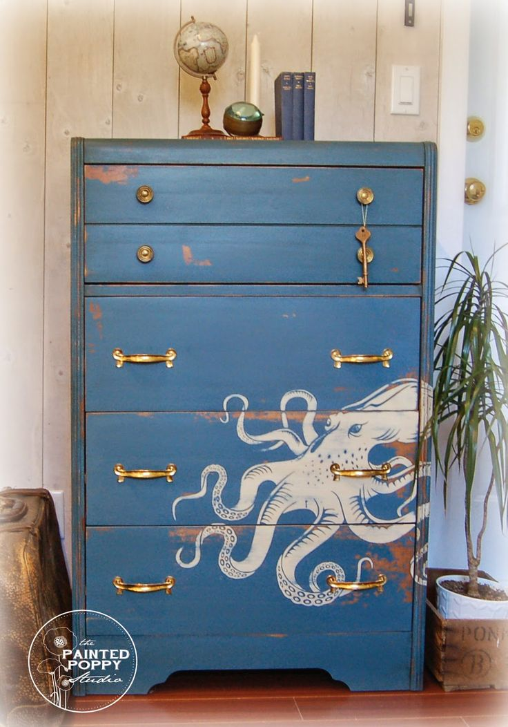 Octopus painting on dresser By The