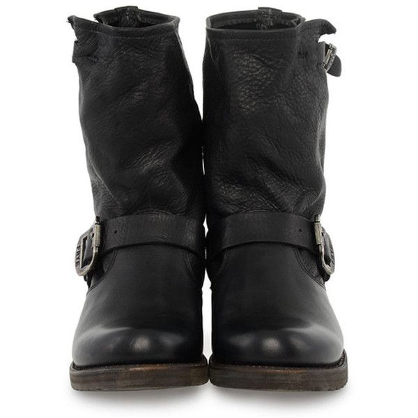 FRYE Veronica Short shoes ($275) ❤ liked on Polyvore featuring shoes, boots, botas, zapatos, black, mid-calf boots, black buckle boots, black mid calf boots, black boots and buckle boots