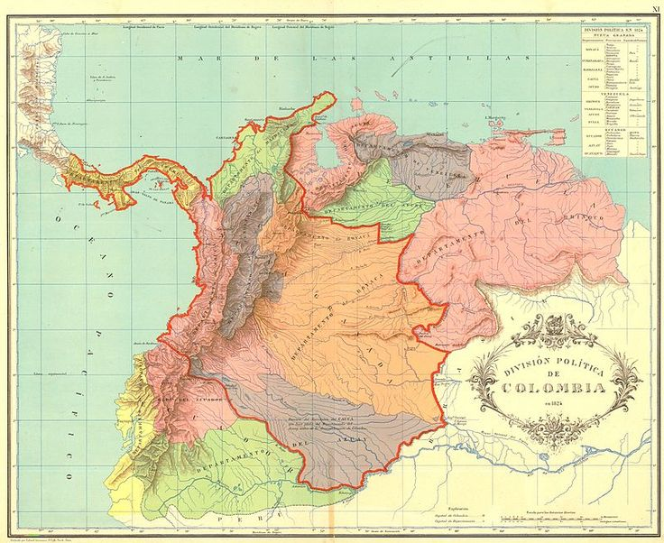 Gran Colombia map 1824 - Kolumbia – Wikipedia, wolna encyklopedia