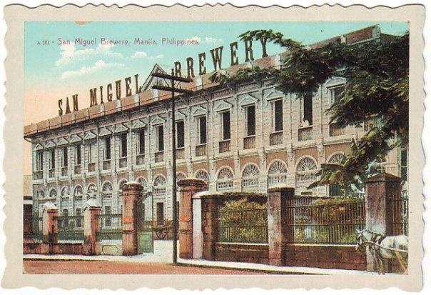 San Miguel Brewery Postcard ca. 1910s    Under a royal grant from Spain, Enrique Barretto y de Ycaza opened La Fabrica de Cerveza de San Miguel, Southeast Asia's first brewery, on September 29, 1890 at 6 Calzada de Malacañang in Manila, near the Palace of the Governor-General of the Philippines. He named the company after the section of Manila in which he lived and worked.