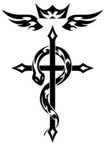 Na cruz de Flamel a criatura representada provavelmente é um basilisco e não uma serpente comum. No entanto é possível que existam outros significados para cada parte separada. Por exemplo o equilíbrio.