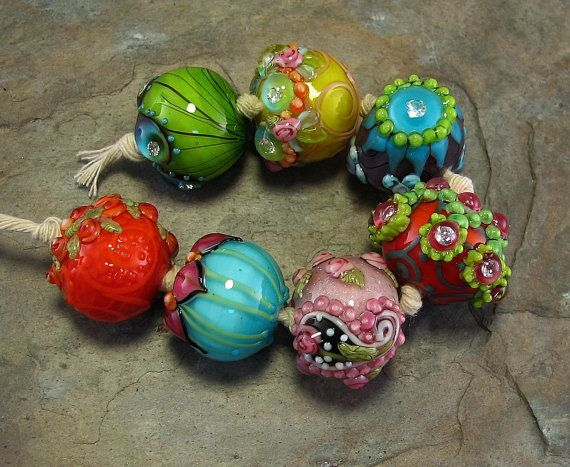 bollywood chunkies devamati lampwork bead set by flamekeeper