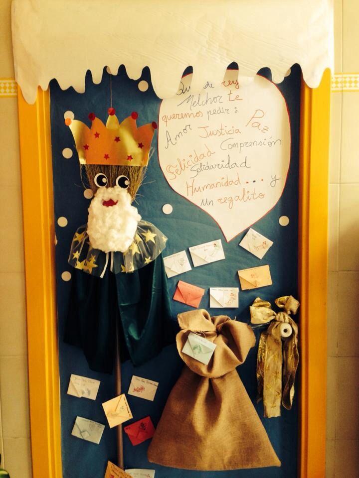 Puerta decorada del cole navidad pinterest for Puertas decoradas enero