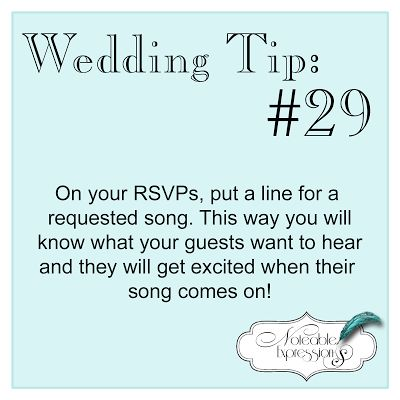 Noteable Expressions: Wedding Tip Tuesday #29.... clever for any party