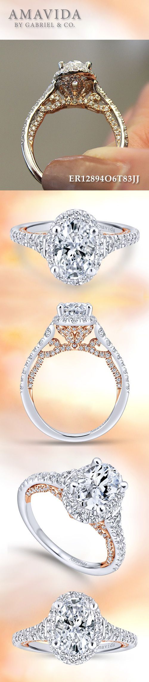 Amavida by Gabriel & Co. - 18k White/Pink Gold Oval Halo Engagement Rings.