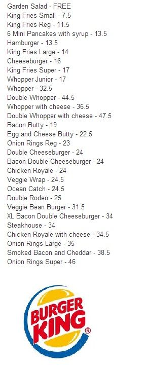 Burger King Values :)