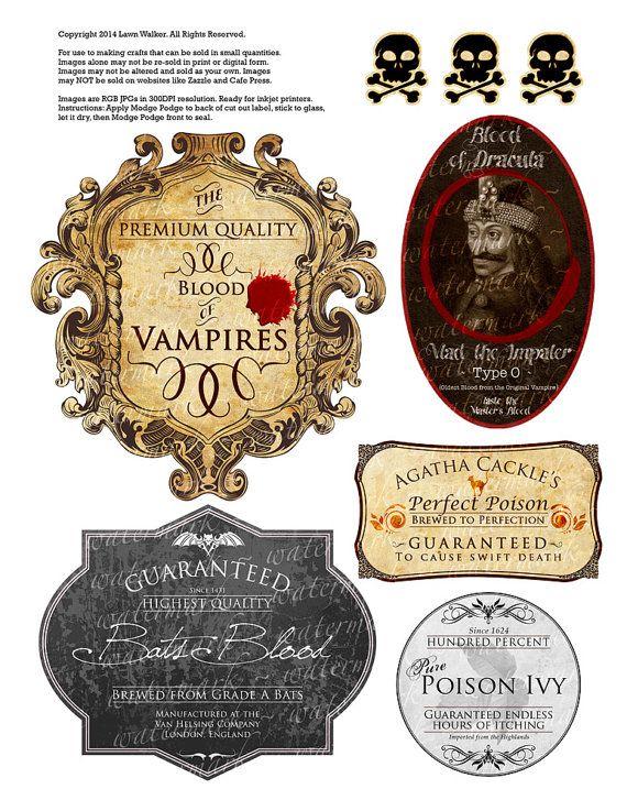 5 HALLOWEEN Bottle or Gag Wine Labels PRINTABLE - Dracula Vampire Bats Blood Poison Skull