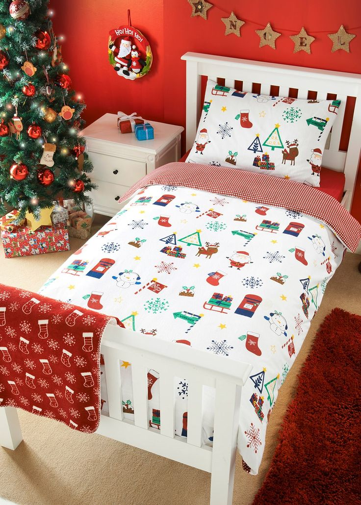 Christmas Kids Brushed Cotton Single Duvet Set Matalan In 2020 Christmas Decorations Bedroom Christmas Room Decor Christmas Room