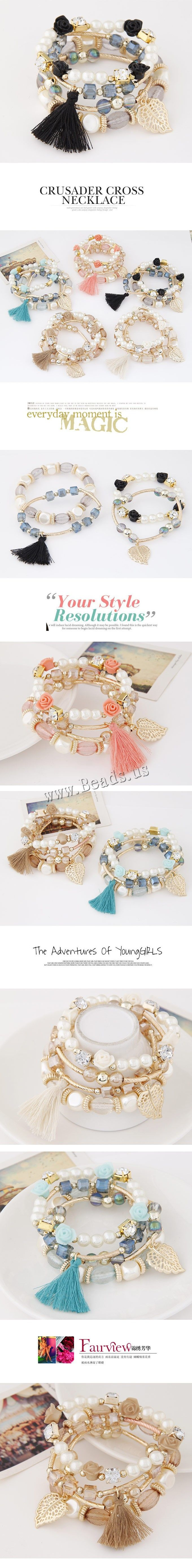 Fashion Bracelet & Bangle Jewelry, Zinc Alloy, with ABS Plastic Pearl, gold color plated, lead & cadmium free, 170mm, Length:Approx 6.69 Inch, 4Strands/Set,china wholesale jewelry beads