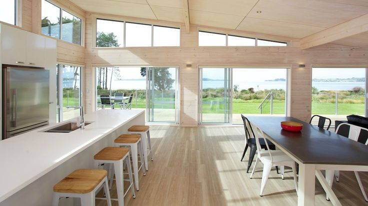 Lockwood holiday home at Snells Beach with blonded solid wood interior
