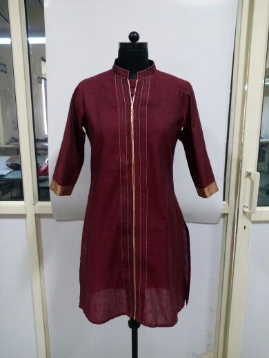 Contrast Stitched Handloom Poly Khadi Kurti