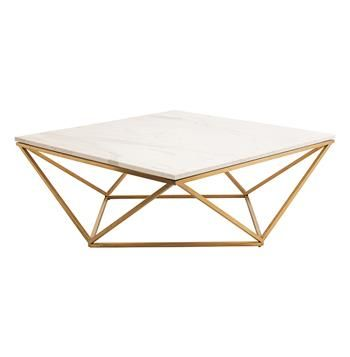 Rosalie Hollywood Regency Gold Steel White Marble Coffee Table. #kathykuohome #coffeetable #HollywoodRegency