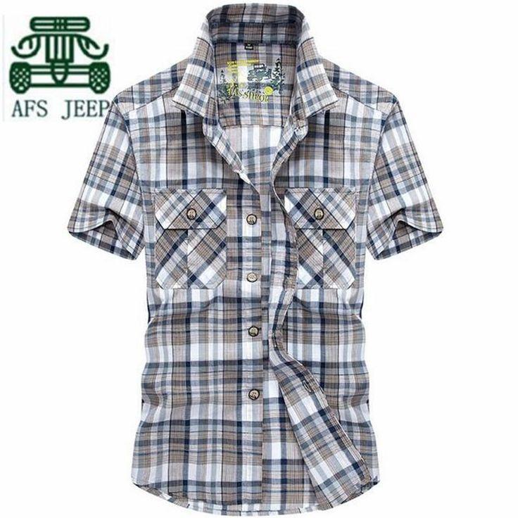 AFS JEEP Eye colors Plus Size 2017 Summer Man shirt,plaid 100% cotton cargo shirts,summer working resist wear short sleeve shirt
