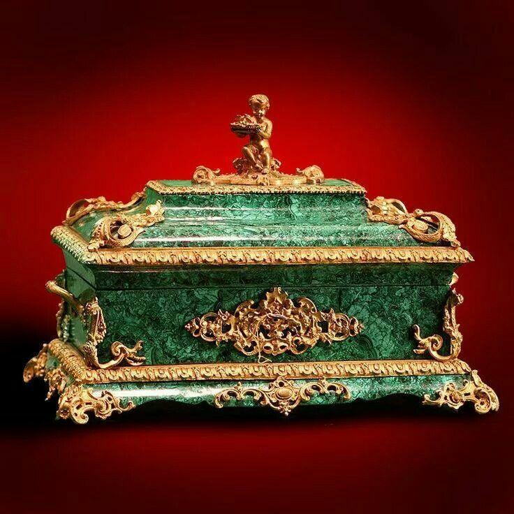 Cofanetto russo in malachite e inserti in bronzo, meta' 800