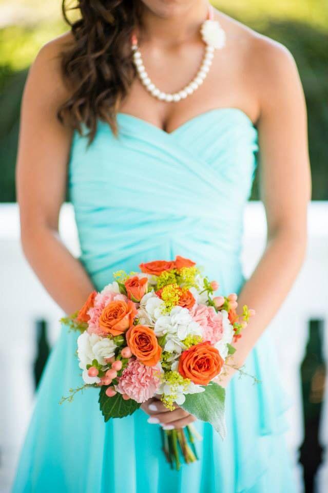 David's Bridal Spa Blue, Peach and Orange Bouquet.- Stephanie Messick Photography