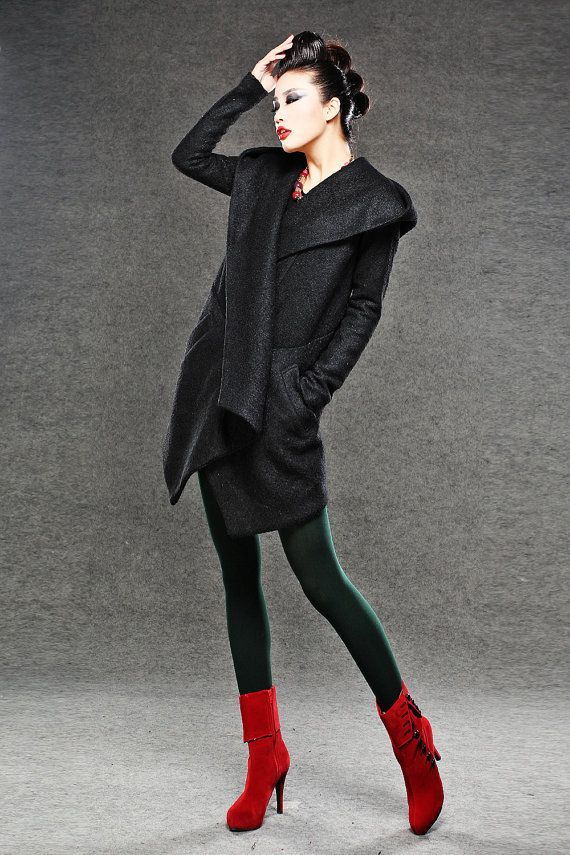 Black Winter Pea Coat Wrap Around Short Hooded Womens by YL1dress
