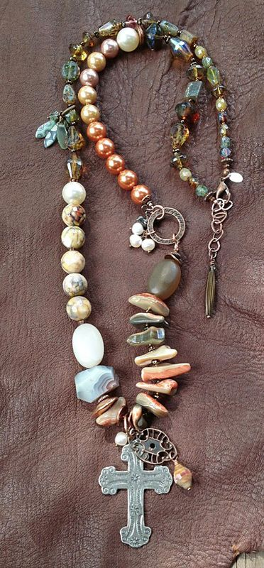 "DESERT ROSE: abalone, agate, glass, freshwater pearls, glass pearls, mixed metals. 29"" plus extender by Toni McCarthy"