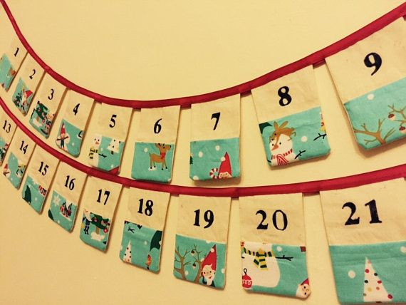 Christmas Advent Calendar fabric bunting. by SewSparkleSophie