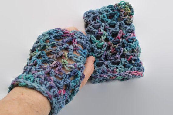 Crochet Ladies Adult Fingerless Gloves by MadeforYOUbyFi on Etsy