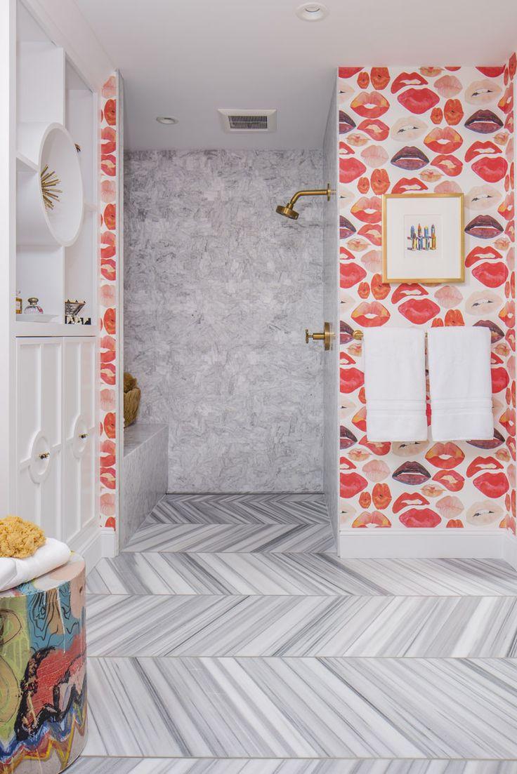 Sumptuous tudor style homes method philadelphia traditional bathroom - Lips Wallpaper In Playful Bathroom Tiled Shower And Gold Shower Head