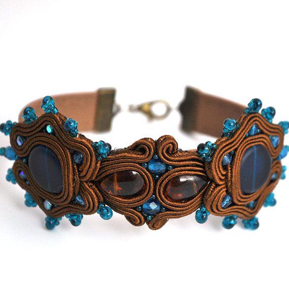 Brown blue soutache bracelet boho style oriental by PikLusSoutache